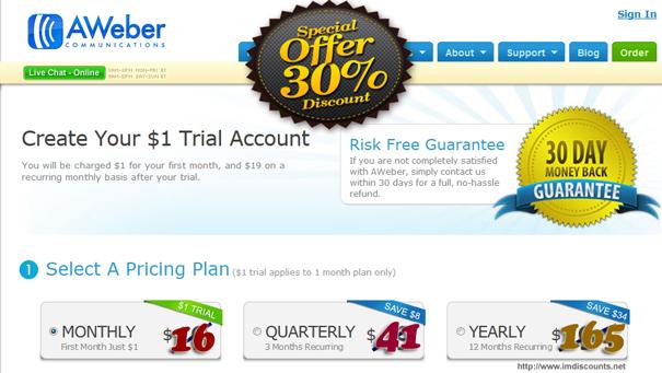 aweber discount coupon code